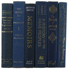 Blue Books Home Decor, Vintage Books, Old Books, Teacher Gift, Book... (51 AUD) ❤ liked on Polyvore featuring home, home decor, blue home decor, blue home accessories, vintage home accessories and vintage home decor