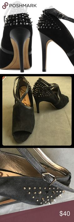 Sam Edelman Adrienne Studded Open Toe Heels Great condition Sam Edelman Adrienne studded heels with open toe. Ridiculously comfortable!! Black suede and leather with gunmetal studs and spikes. Business in the front; bad-ass in the back! True to size. 4.25 inch heel Sam Edelman Shoes Heels