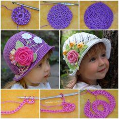 Crochet pretty-panama-hats-for-girls FREE pattern #diy #craft #crochet
