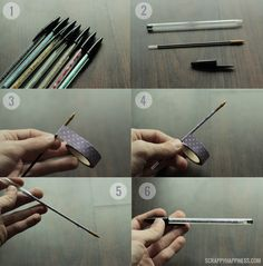 DIY Washi Tape Ballpoint Pens! Super Simple and Easy. Perfect for Coordinating Office Decor.