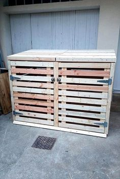 awesome pallet trash can cabinet