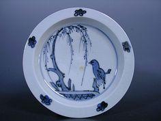 藍九谷 鳥柳紋鍔型五寸皿