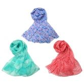 Assorted Scarfs In A Pack Of 3 With A Combination Of 3 Different Designs In Different Color's (style No. Ba 1184)