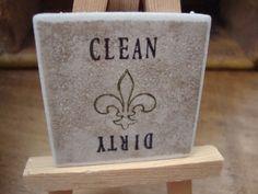 Fleur de Lis Clean Dirty Magnet for Dishwasher - Customize Colors to Fit Your Home Decor. $6.99, via Etsy.