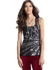 White House Black Market Overlay Sequined Top