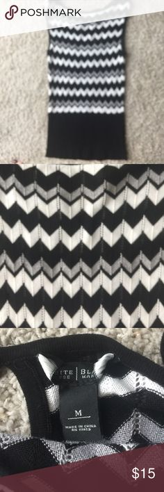 Black White Chevron Top Black and White Market - chevron zig zag top, looks great under suits, mix and match with skirts/slacks.  Priced to sell - Size M.  Like new- perfect condition. Black White Market Tops