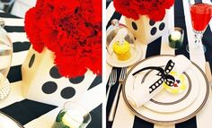 Decorate table for suprise diner.  Black /white