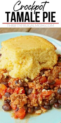 This Crockpot Tamale pie is such an easy family dinner! It combines ground beef, black beans, diced tomatoes, corn, onion and taco seasoning and then tops it all with cornbread. You can eat it as is or with some sour cream, cheese and salsa. Either way, it's delicious! #thriftyfrugalmom #mexicanfoodrecipe #slowcookermeal Crockpot Dessert Recipes, Best Crockpot Recipes, Easy Homemade Recipes, Cookbook Recipes, Slow Cooker Recipes, Easy Dinner Recipes, Beef Recipes, Snack Recipes, Delicious Recipes