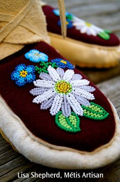 Custom Designed, just for you. Made in Canada. 100% Canadian Native, Authentic Aboriginal. Every pair of moccasins is custom designed to order by Lisa Shepherd, Metis Artisan. They are designed fro…