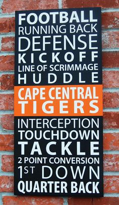 football inspired typography sign, customizable to your team's colors.