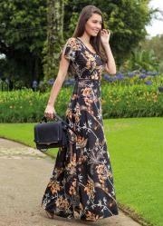 Vestido Longo Moda Evangélica (Estampado)