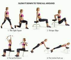 SLOW IT DOWN TO TONE ALL AROUND WORKOUT Do the first and third moves slowly (taking five seconds to lower), and the second and fourth moves at a normal speed; the second time, reverse the pattern (doing the first and third moves at a normal pace). Keep alternating for seven minutes, resting as needed between the moves. Reverse the order (start with the dip), and complete another seven-minute round using the same pattern. Do 5 sets  1. THE SPLIT SQUAT Stand with your legs staggered, your left…