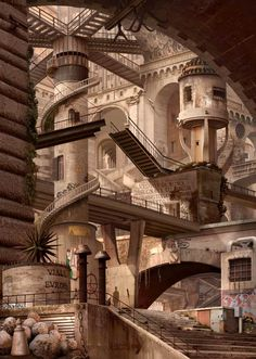 Emily Allchurch & Nigel Warburton - Re-Imagined Prisons Illustrations, Illustration Art, Dream Fantasy, Fantasy Places, Inside Outside, A Level Art, Chiaroscuro, Fantasy Landscape, Atrium