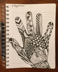 2. The second compulsively drawn hand is about trying to make the hands become very good friends with my new notebook.