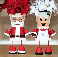 Mrs Claus Clay Pot People Christmas Planter and Candy BowlLarge Santa Flower Pot People Holiday Decoration - All About Flower Pot Art, Flower Pot Design, Clay Flower Pots, Flower Pot Crafts, Clay Pot Projects, Clay Pot Crafts, Christmas Crafts, Christmas Decorations, Handmade Christmas