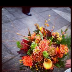 Fall bouquet with pincushion protea