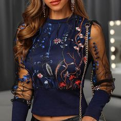Sexy Embroidered Sheer Floral Mesh Long Sleeve Blouse - 01 dark blue / M