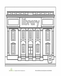 Worksheets: Library Coloring Page