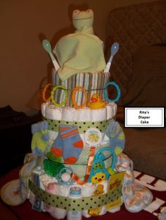 How To Make A Baby Shower Diaper Cake   ... for her shower. This is the first of many diaper cakes to come
