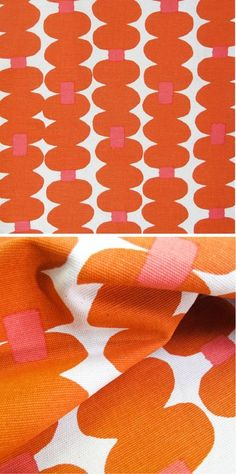 'Oddjects' in the Tangerine colourway by Skinny laMinx. Each roll of fabric is professionally screen-printed with waterbased inks onto a 100% cotton or cotton/ linen blend base cloth. Find it in the Skinny laMinx online store.