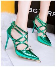 Women Pointed toe Criss Cross Strappy Gladiator Sandals Stiletto High Heel Shoes
