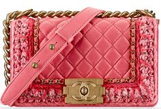 """Chanel Fall-Winter 2016.17 lamb skin small """"Boy"""" flap bag in pink and coral."""