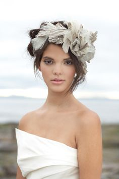 A floral fabric crown wrapped in iridescent taffeta and tulle Bridal Fashion: Beauty and the Beach | Bridal and Wedding Planning Resource for Seattle Weddings | Seattle Bride Magazine