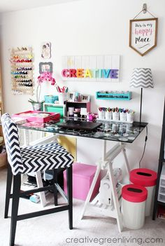 I love all the bright rainbow colors that this home office and craft room is decorated with. This post has lots of great ideas for how to organize and decorate your work space!
