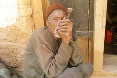 Smoking tobacco is common in Maila village. A traditional chillum