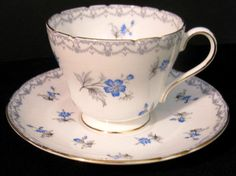 """Vintage SHELLEY Blue """"Charm"""" Tea Cup & Saucer ...  see my other listings for more SHELLEY pieces"""
