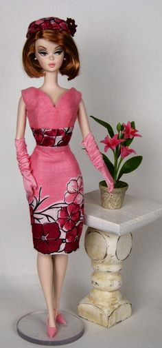 Perfectly pink sleeveless dress and hat for Silkstone Barbie by HankieChic on Etsy now
