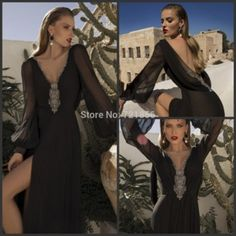 E233 vestido longo New Custom Sexy V-Neck Black Chiffon Party Prom Gowns with Long Sleeves Crystal Formal Evening Dress 2015