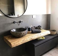 Home&Decor. Suspended bathroom cabinet 120 cm - Wooden shelf for sink and black drawer Decor, House Design, Bathroom Makeover, Wc Design, Bathroom Interior, Modern Bathroom, Bathroom Design Luxury, Bathrooms Remodel, Bathroom Decor