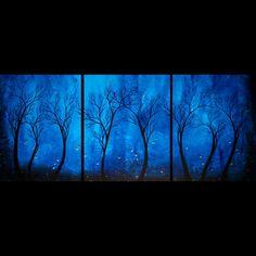 Original Blue Tree Painting by Jaime Best - Twilight | bestartstudios - on ArtFire