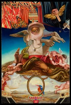 """OPENS TODAY! """"Angels, Totems, and Revelations"""" at Krab Jab Studio in Seattle, USA.  Featuring Carrie Ann Baade, Liba WS artwork and Patrick V. McGrath Muñiz, the show opens with their special Reception tonight from 6-9 pm with an Artist Talk at 7:30 pm – all three artists in attendance.  Featured painting: 'The Eternal Mother' by Carrie Ann Baade.  #beautifulbizarre #art #culture #couture #krabjabstudio"""