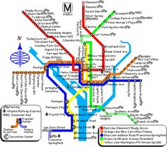 Washington DC Metro Rail Map - Virginia and Maryland metrorail