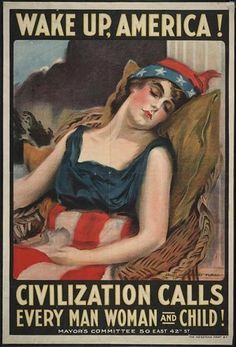 "This vintage World War One poster features Lady Liberty sleeping in a chair. It reads, ""Wake up, America! Civilization calls every man, woman and child!"" Celebrate History with this digitally restored vintage poster from The War Is Hell Store. Art Vintage, Photo Vintage, Vintage Ads, Vintage Posters, Vintage Gifts, Vintage Advertisements, Vintage Images, Vintage Canvas, Vintage Graphic"