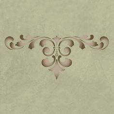 Fleur De Lis Scroll Modern Masters Stencil from Royal Design Studio