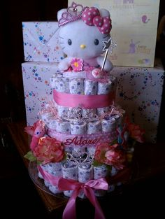 Princess Hello Kitty Baby Cake  #babyshower #Huggies #diapercakes #hellokitty