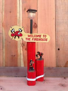 Solar Light Designs Are Handcrafted From Landscaping Timber For Weather  Durability And Includes A Custom Firehouse