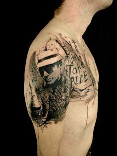 Hunter S Thompson Tattoo by Xoil Loic http://tattoopics.org/hunter-s-thompson-tattoo-by-xoil-loic/