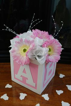 ABC Block Baby Girl Shower PINK Centerpiece By BellaDesignsByLisa