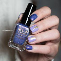 FUN Lacquer Happy Ending Gold Lavender Triangle Nail Art Petite Peinture