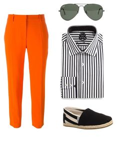 """""""Stripey"""" by emilyandrewss ❤ liked on Polyvore featuring STELLA McCARTNEY, English Laundry, Ray-Ban and TOMS"""