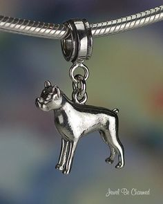 Boxer Charm for European Style Bead Bracelet Sterling Silver Dog Breed