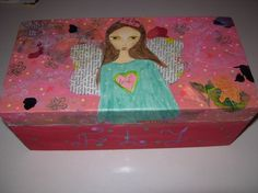 FLY  mixed media painting on a wooden box by eltsamp on Etsy, $70.00