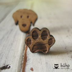 Dog & Paw laser earrings Laser Cut Jewelry, Dog Paws, Wooden Jewelry, Woody, Jewels, Jewellery, Earrings, Projects, How To Make