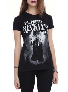 Fitted black tee from The Pretty Reckless with a large front screen image of Taylor Momsen. 100% cotton Wash warm; dry low Imported Listed in junior sizes