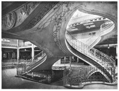 The grand staircase inside the Magasins Dufayel, Paris