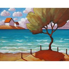A gentle summer breeze pushes fluffy clouds across a blue sky, ripples blue green ocean waves and rustles the leaves of a lone beach tree. An original painting, acrylic on canvas by artist Cathy Horvath Buchanan - SoloWorkStudio